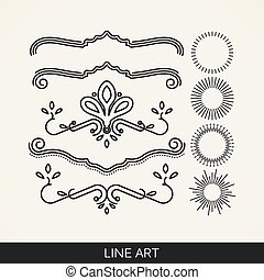 vector set of line art elements for design, sunburst and ray...