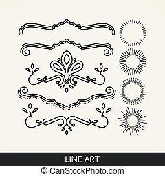 vector set of  line art elements for design, sunburst and ray li