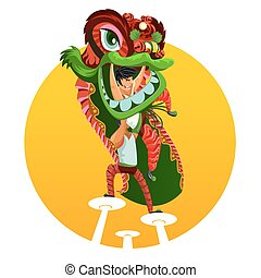 Chinese New Year Lion Dance - An Illustration Of Chinese...