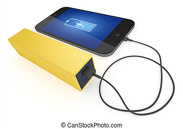 smart phone and power bank - An image of a smart phone and a...