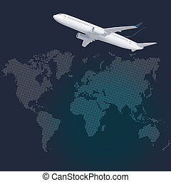 Airplane with World Map and Globe icon