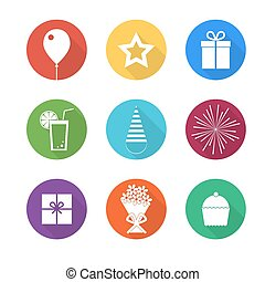 Birthday party icons set - Collection of multicolored...