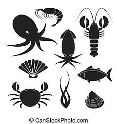 mariscos, iconos, Conjunto,