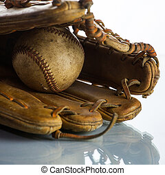 Vintage Baseball glove on White Background