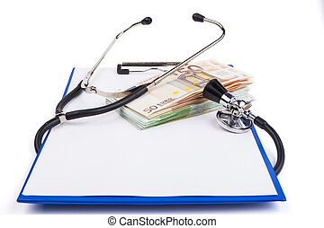 Health Costs - Blue clipboard with black stethoscope and...