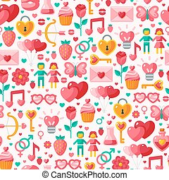 Cute Valentine seamless pattern. Vector illustration for...