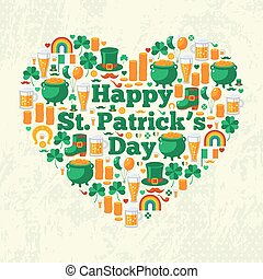 Happy Patrick's Day Text Concept with Flat Lovely Icons Arranged in Form of Heart.