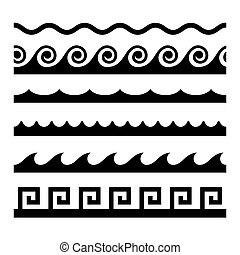 Seamless Wave Pattern Set. Vector Template Illustration