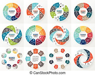Vector circle arrows infographics set. Template for diagram,...