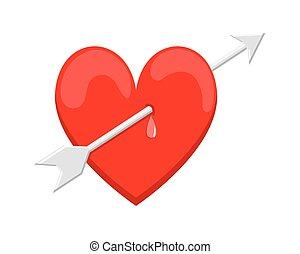 Heart Arrow - Artistic Cartoon Heart with Arrow Vector...