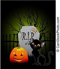 Halloween night - Vector illustration of Halloween night at...