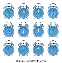 Twelve alarm clocks at the top of the hour - Twelve blue...
