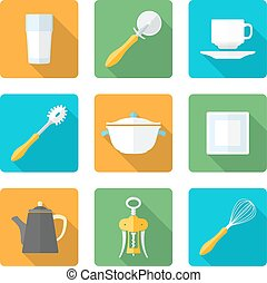 flat style design dinnerware icons - vector various flat...