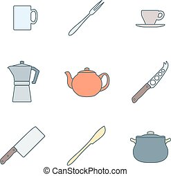 flat color outline dinnerware icons - vector various flat...