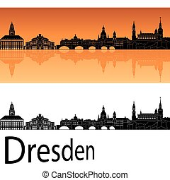 Dresden skyline in orange background