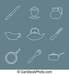 outline design dinnerware icons set - vector various outline...