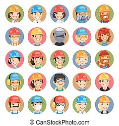 Builders Cartoon Characters Icons Set13 In the EPS file,...