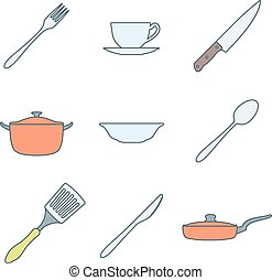color outline dinnerware icons set - vector various colored...
