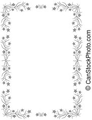 Floral border.  - Gray border with flowers.