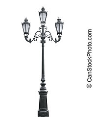 Triple lamppost - An isolated photo of an old street...