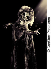 mask horror - Frightening female wearing mask of skull....