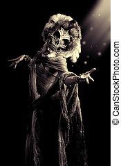 mask horror - Frightening female wearing mask of skull....