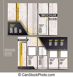 retro wood grain half-fold brochure template design over...