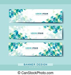 abstract banner template design with triangle pattern
