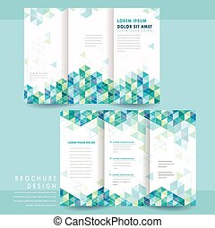 abstract tri-fold template design with triangle pattern