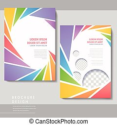colorful poster template design with spiral triangle...