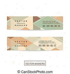 retro mosaic banner template design in blue and brown