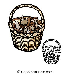 Mushrooms in Basket - Vector illustration : Mushrooms in...