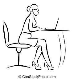 Secretary in Office - Vector illustration : Secretary in...