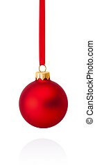 Red Christmas ball hanging on ribbon Isolated on white...
