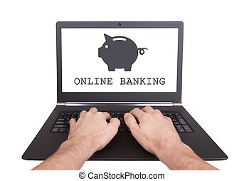 Man working on laptop, online banking, isolated