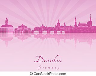 Dresden skyline in purple radiant orchid