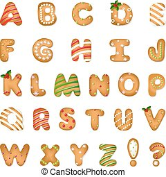 Xmas Gingerbread Cookie Alphabet With Gradient Mesh, Vector...