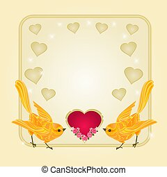 Valentines day frame heart and gold birds background place...