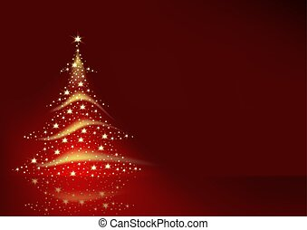 Christmas Tree formed from Stars - red christmas background...