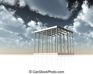 jail - cage under cloudy sky - 3d illustration