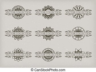 Calligraphic design elements. Vector set of page decorations