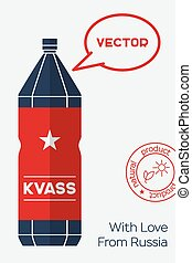 Russian Kvass. Vector flat banner with bottle of kvass