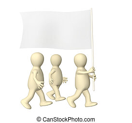 Group puppets, going with a flag - Group of the puppets,...