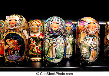 Russian wooden dolls - A row of Russian wooden dolls...