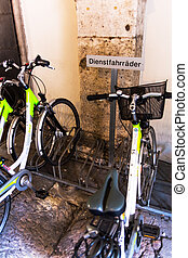 service bicycles - service bikes in a bicycle stand,...