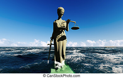 Lady of justice standing in ocean