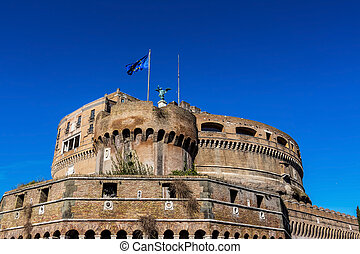 italy, rome, castel sant angelo with st. peter's basilica in...
