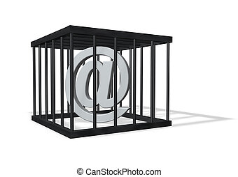 forbidden communication - email alias in a cage on white...