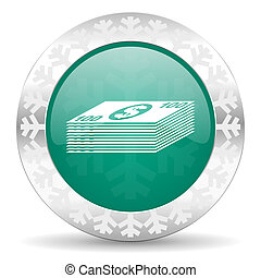 money green icon, christmas button, cash symbol