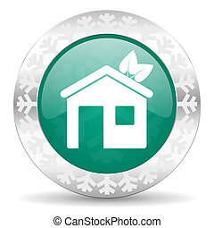house green icon, christmas button, ecological home symbol
